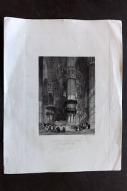 Fisher (Pub) 1844 Antique Print. Interior of Milan Cathedral, Italy